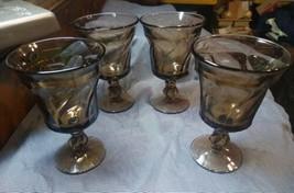 4 Fostoria Jamestown Brown Water Goblets - $15.99