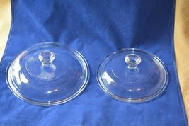 2 Round Corning Ware Pyrex Visions Glass Lids V1C & V1.5CA Clear - $9.65