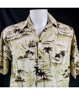 Go Barefoot Palm Trees Huts Outriggers Medium Rayon Hawaiian Aloha Shirt - $33.31