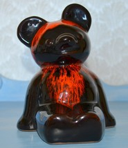 Vintage Evangeline Style Canadian Red Drip Pottery Bank Teddy Bear - $11.88