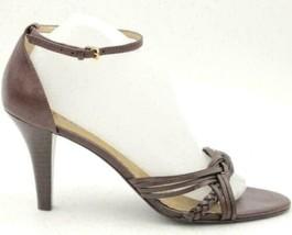 Franco Sarto Women Ankle Strap Sandal Heels Size US 9.5M Brown Leather - $27.00