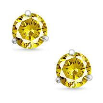 Martini Round Cut Canary CZ 14k White Gold Sterling Silver Stud Earrings New  - $33.64+