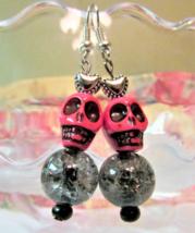 Pink Skull Earrings, Beaded Glass Earrings, Silver Heart Earrings, Black... - $6.00