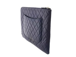 CHANEL Clutch Bag Large Leather Navy Coco Pouch Italy Authentic 5553129 - $722.79