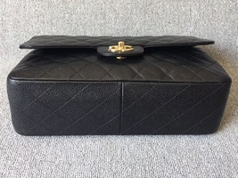 NEW AUTHENTIC CHANEL BLACK CAVIAR QUILTED JUMBO DOUBLE FLAP BAG GHW image 2