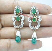 925 Sterling Silver Antique Rose Cut Victorian Diamond Emerald Dangle Ea... - $292.66