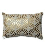 Pillow Perfect Glamour Flock Gold White Rectangular Throw Pillow - £12.85 GBP