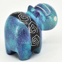 Crafts Caravan Soapstone Purple & Blue Hippopotamus Hippo Figurine Made Kenya image 4