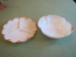 2 pc Milk Glass Gold Serving Dish Divided Plate &  Bowl Mid Century - $19.80