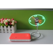 Flexible USB Powered Clock LED Cooling Flashing Fan For PC Laptop - £16.17 GBP