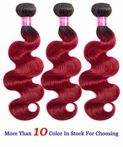 INSTASTYLE Hair Red Ombre Brazilian Body Wave Human Hair Weft 3 Bundles ... - $76.87