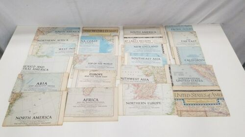 Vintage Lot (22) National Geographic Map World 1949 - 1955