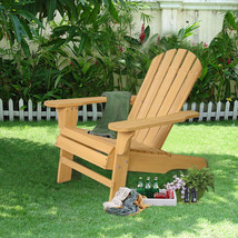 Outdoor Folding Chair Adirondack Wood Patio Law... - $98.99