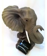 Elephant Figurine Trunk Up DWK World of Wonders Poly Resin 9.5 inches Tall - $44.54