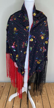 Women's Handmade Shawl With Fringe Size 43x70 In Red Black Floral H2 - $29.63