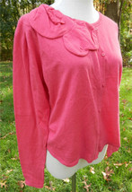 CABI Pink LS Cardigan Sweater with Fabric Bow at Scoop Neckline Cotton B... - $39.58