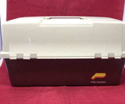 Plano #8606 6 Tray 2 Sided 3 Levels Vintage Large Tackle Maroon & Beige Box - $69.25