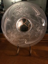 """Signed Val St. Lambert 11.75"""" Charger Crystal Plate Birds Waves - $50.25"""