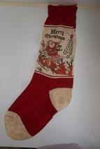 Vintage Sock Christmas Stocking Reindeer Pulling Santa Sled Toys 30's Large - $24.99
