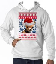 Chihuahua Puppy Santa Christmas - New Cotton White Hoodie - All Sizes In Stock - $38.69