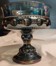 Indiana Colony Glass Iridescent Blue Carnival Kings Crown Compote Candy Dish  - $34.50