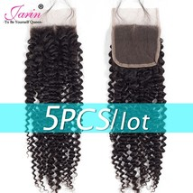 5 Pieces/lot 4x4 Closure Kinky Curly Human Hair Brazilian Lace Closure Free Midd - $193.60
