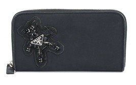 Authentic PRADA Black Nylon Evening Bear Long Wallet and Coin Purse #31877 - $209.00