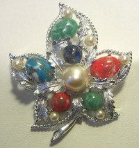 Vintage 1960's 70's SARAH COVENTRY Silver Leaf Brooch Pin Faux Peals Turquoise  - $17.81