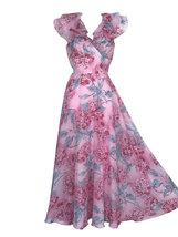 70s Vintage Pink Blue Floral Leaf Frill Collar Tie Back Boho Festival Ma... - $65.00