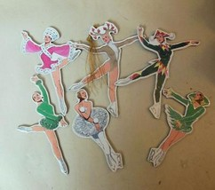 Set of 6 Double Sided Ice Skater Ornaments Tom Tierney   Vintage Hong King - $14.40