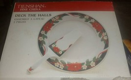 CAKE PLATE & SERVER TIENSHAN FINE CHINA DECK THE HALLS PORCELAIN WARE 10... - $19.79