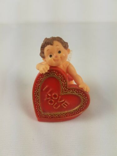 Primary image for Vintage Hallmark Merry Miniature Cupid Valentine's Day Holding I Love You Heart