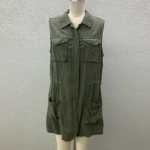 A New Day Zip Up Cargo Jacket Vest Women's L Army Green Military Sleeveless - $18.95