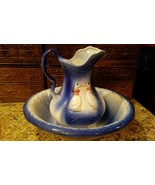 Vintage Large Blue & White W DUCKS Ceramic Wash Bowl & Pitcher  Circa. 1975 - $49.49