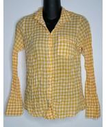 J. CREW Womens Yellow Button Seersuckered Gingham Perfect Shirt Blouse T... - $15.99