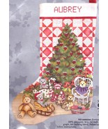 Candamar Christmas Tree and Quilt Teddy Bears Cross Stitch Stocking Kit ... - $39.95