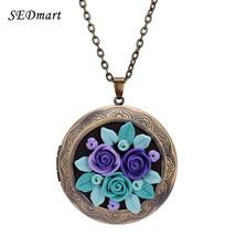SEDmart Colorful Fimo Polymer Clay Rose Flower Floating Locket Pendant N... - $27.14
