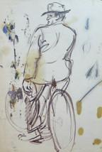 Drawing On Basket Sketch Figure Man IN Bike Painter G.Pancaldi 31x21 CM ... - $24.58