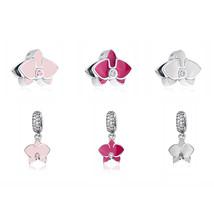 Buy Original 100% 925 Sterling Silver Bead Charm Orchid Pendant Charms E... - $13.99