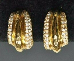 Vintage St John Gold Tone Chunky Clip-On Earrings w/ Crystals - $22.49