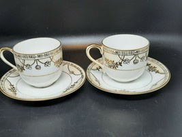 Nippon demitasse cups and saucers pair hand painted excellent condition - $20.00