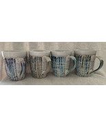 American Atelier Coffee Cups Mugs Abstract Ribbed Asymmetric Wavy Set Of... - $44.99