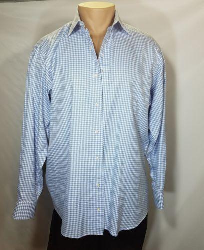 BKS CUSTOM CLOTHIERS CHICAGO MEN'S DRESS SHIRT LONGSLEEVE BLUE WHITE ALL COTTON