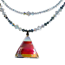 AB Crystal Pyramid Drop Double Strand Necklace image 2