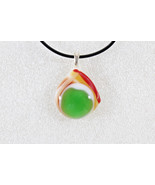 Elegant Handmade Casual Coloured Fused Glass Pendant Necklace + Cord #EM021 - $3.95