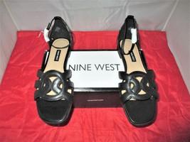 "Nine West Women""s Genna Flat Sandals $79 Black - US Size 9 1/2 M - $44.99"