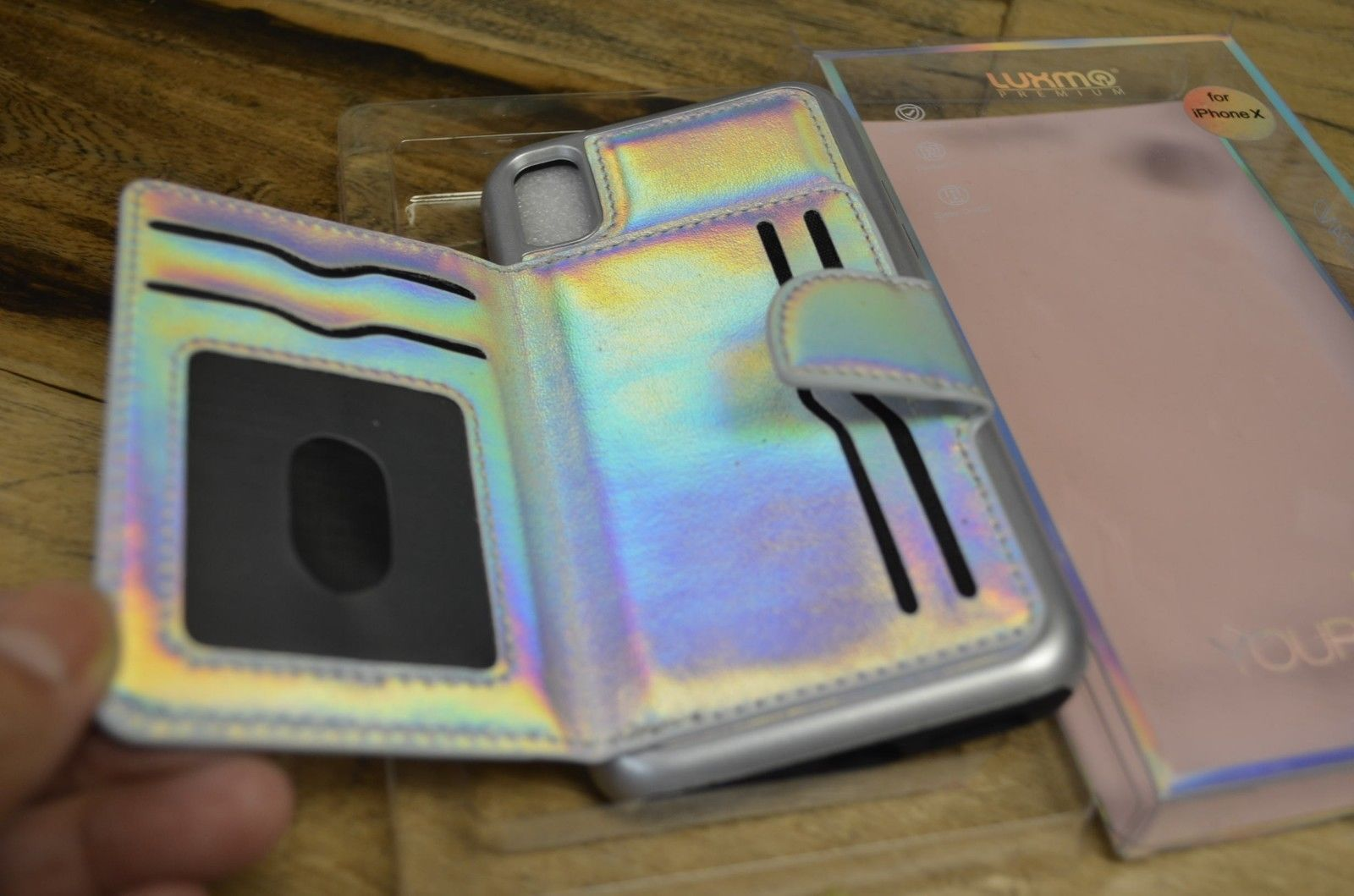 iPhone X XS Case | Luxmo Card Slot Wallet Built-In Silver Cover