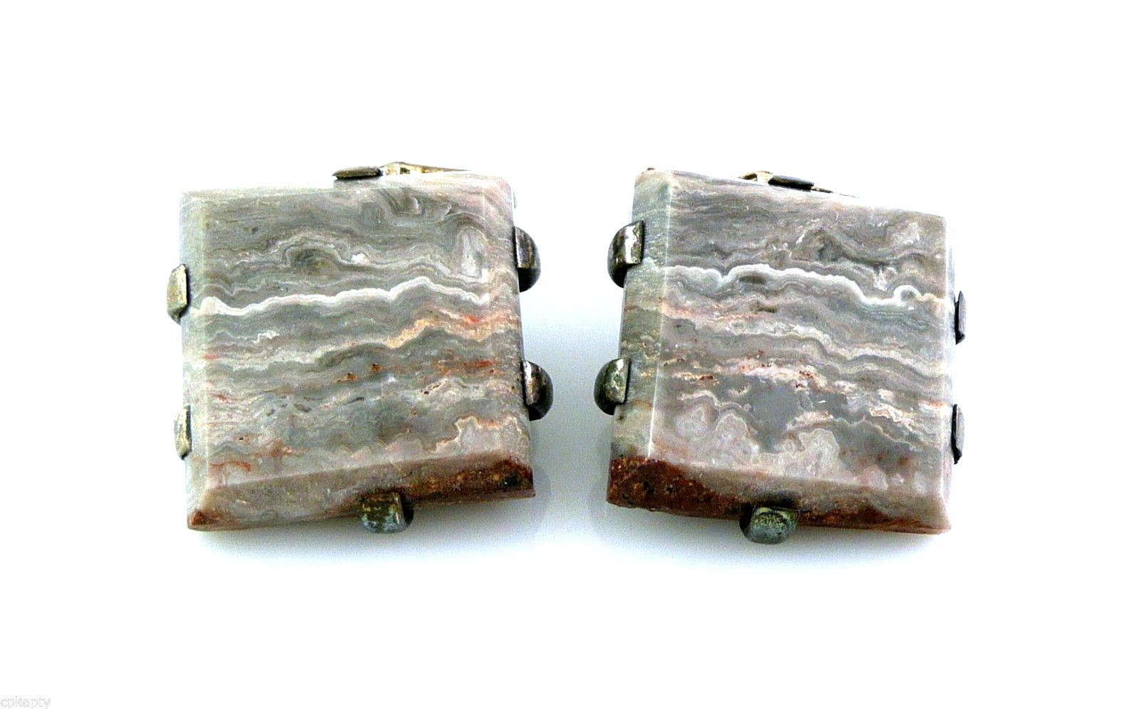 Primary image for BIG Vintage 1950s 60s Handmade Sterling Silver & Stone Geometric Design CUFFLINK