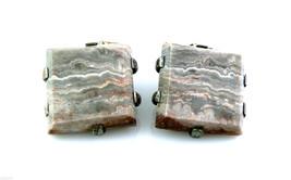 BIG Vintage 1950s 60s Handmade Sterling Silver & Stone Geometric Design ... - $195.00