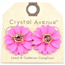 Crystal Avenue Hot Pink Colorful Layered Petal Spring Flower Metal Post Earrings image 2